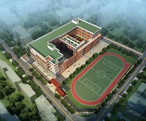 学校操场建筑PSD鸟瞰效果图