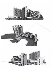 现代风格医院大楼模型