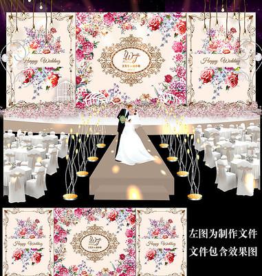 香槟金韩范花卉婚礼舞台背景板