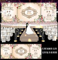 香槟金花卉婚礼迎宾牌设计
