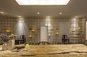 金色元素展厅木桌