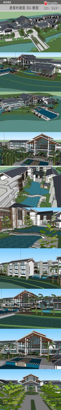 中式别墅度假村建筑SU模型