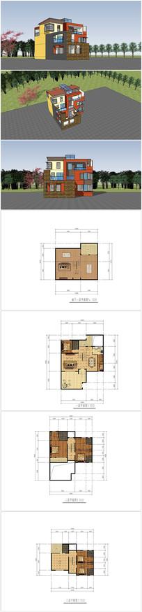 别墅设计作业su模型cad