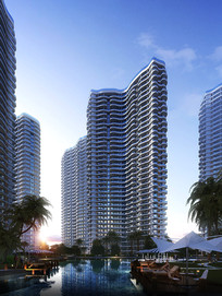水景高层建筑模型