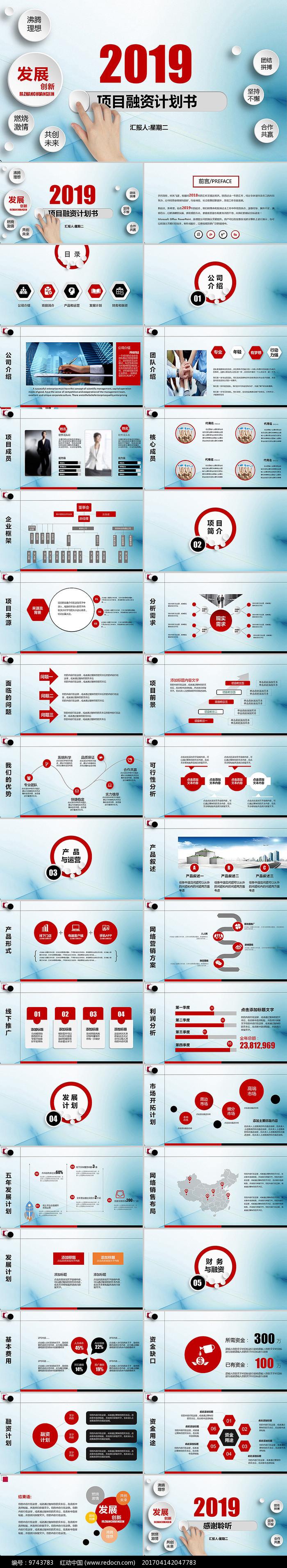 商务创业项目融资计划书PPT图片
