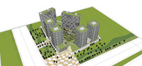大运河某住宅区SU模型