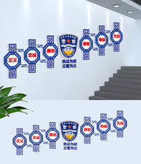 蓝色警营精神楼梯文化墙