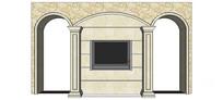 欧式拱门组合电视背景墙