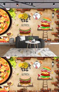 披萨汉堡休闲小吃餐厅背景墙