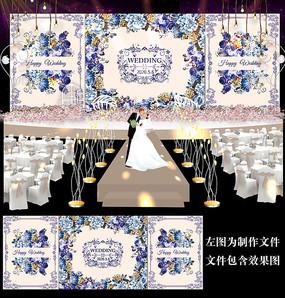 蓝色花卉婚礼迎宾背景