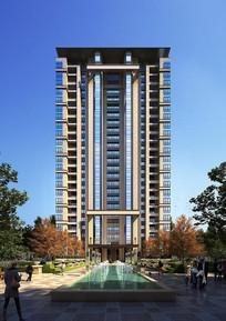 喷泉景观高层建筑模型