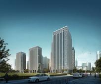 新中式创意高层建筑模型
