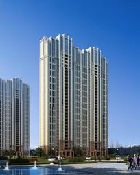 双色外立面高层建筑模型