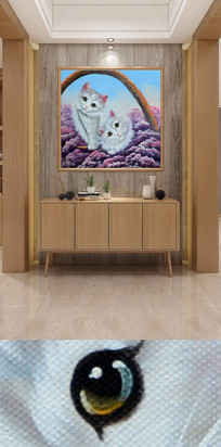 手绘小猫咪装饰画