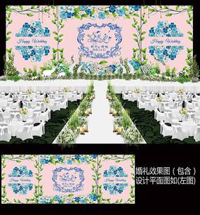 蓝色花卉小清新婚礼舞台背景板