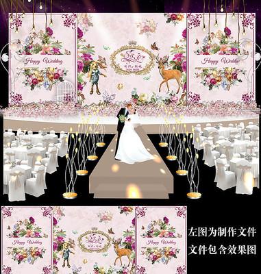 梅红花卉婚礼舞台背景