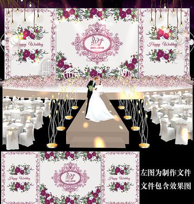 时尚紫色花卉婚礼舞台背景