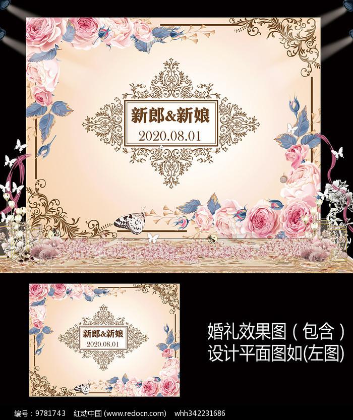 香槟粉色花卉婚礼甜品台背景板图片