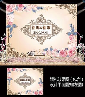 香槟粉色花卉婚礼甜品台背景板