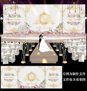 香槟金花卉婚礼甜品台背景板设计