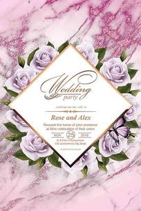 大气紫玫瑰花婚礼迎宾水牌设计
