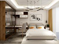 现代风格卧室模型素材