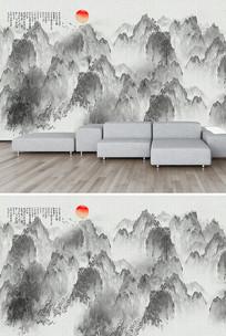 现代山水画工装背景墙