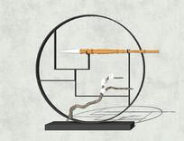 中式画笔摆件设计