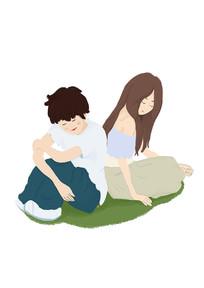 甜蜜情人节爱情情侣手绘插画