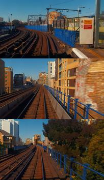 4K后退铁道建筑实拍视频素材