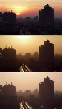 城市清晨日出实拍视频素材