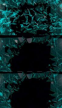 带通道蓝色玻璃破碎视频素材