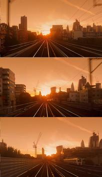 火车沿着铁轨前进实拍视频素材