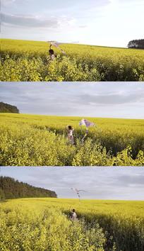小女孩放风筝实拍视频素材