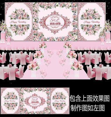 粉色花卉婚礼甜品台设计