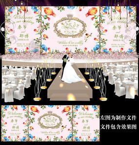 水彩小清新婚礼背景设计
