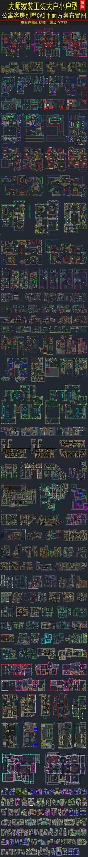 大小户型平面方案布置图CAD