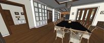 简约新中式室内装修模型