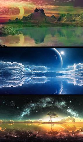 唯美夜色风景舞台背景视频素材