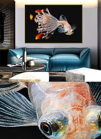 现代简约晶瓷画彩鱼客厅画E