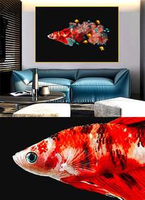 现代简约晶瓷画彩鱼客厅画G