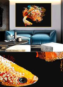 现代简约晶瓷画彩鱼客厅画c