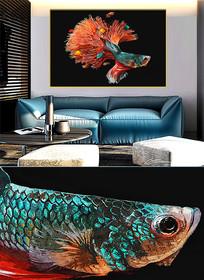 现代简约晶瓷画彩鱼客厅画d