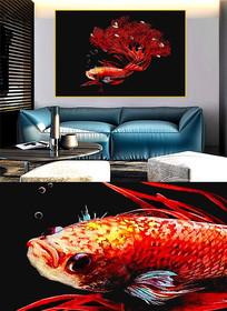 现代简约晶瓷画彩鱼客厅画j
