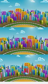 彩虹城市卡通视频素材