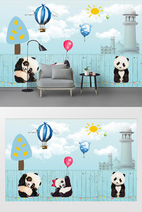 儿童房卡通手绘熊猫背景墙