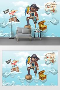 手绘卡通海盗船背景墙
