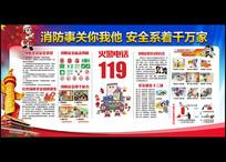 119消防日安全宣传栏展板