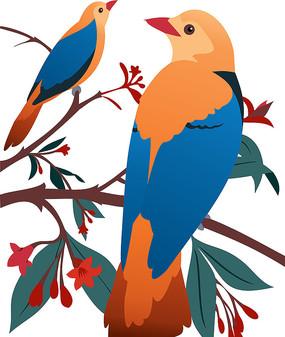 鸟类精致插画