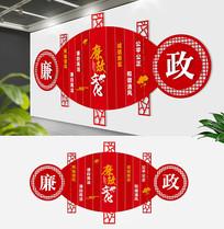 红色中式廉政文化墙
